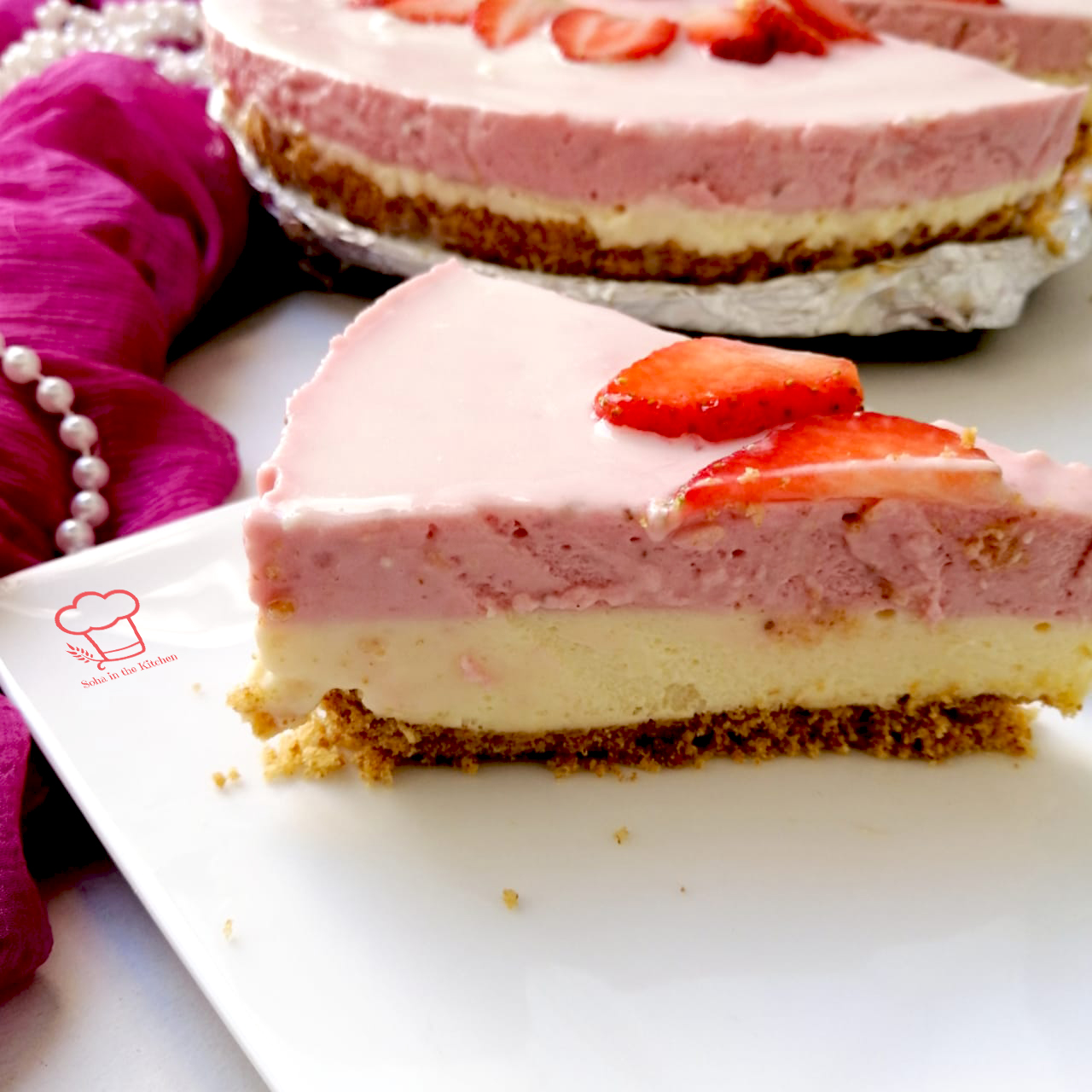 No-Bake White Chocolate and Strawberry Mousse Cake | Soha in the Kitchen